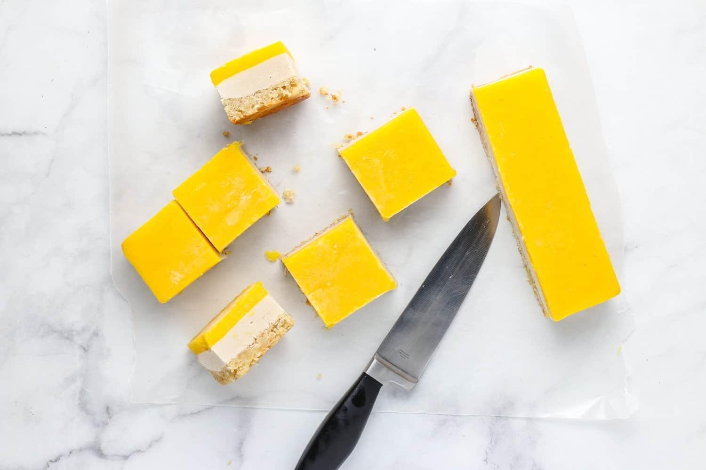 cut mango bars into squares