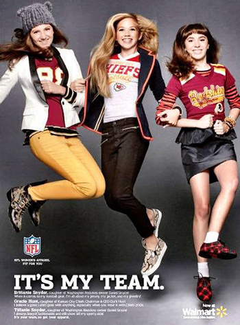 Gracie Hunt in the advertising campaign for Kansas City Chiefs apparel