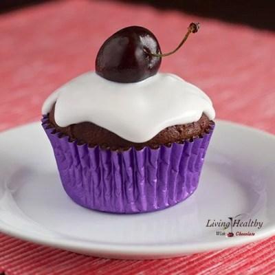 Paleo Red Velvet Chocolate Cupcakes With Coconut-Cherry Glaze