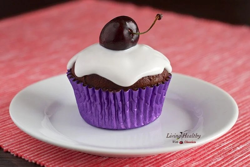 Paleo Red velvet choc-cherry cupcakes