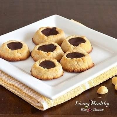 Paleo Macadamia Nut Chocolate Filled Thumbprint Cookies