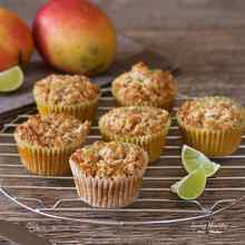 Super moist Paleo Mango Muffins with Coconut-Lime Streusel recipe - Made with coconut flour and fresh mangoes (gluten/grain/dairy/nut/sugar-free) by #LivingHealthyWithChocolate