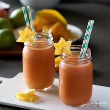 Starfruit Mango Smoothie Recipe (Dairy-free, Sugar-free, Paleo & Vegan) by #LivingHealthyWithChocolate