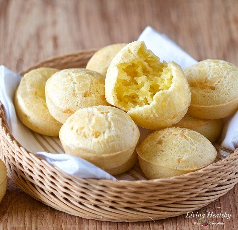Easy Brazilian Cheese Bread Recipe (Pão de Queijo) by Adriana Harlan #LivingHealthyWithChocolate