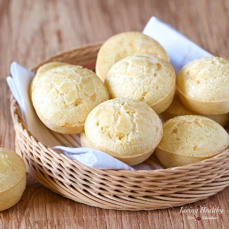 Easy Brazilian Cheese Bread Recipe (Pão de Queijo) by Adriana Harlan #LivingHealthyWithChocolate