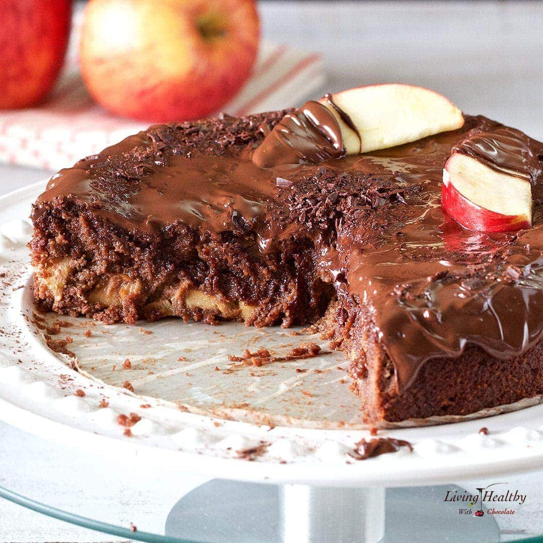Apple Chocolate Cake Recipe (gluten/grain/dairy-free, Paleo) by #LivingHealthyWithChocolate
