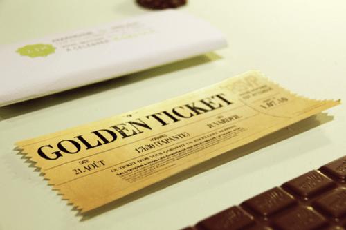 03 Golden Ticket Wedding Invitation Chocolate
