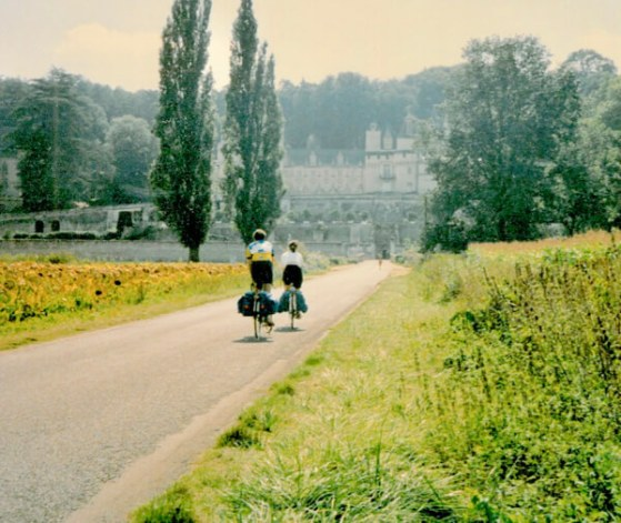 Biking toward Chateaux Ussé in the Loire Valley, France - 1990