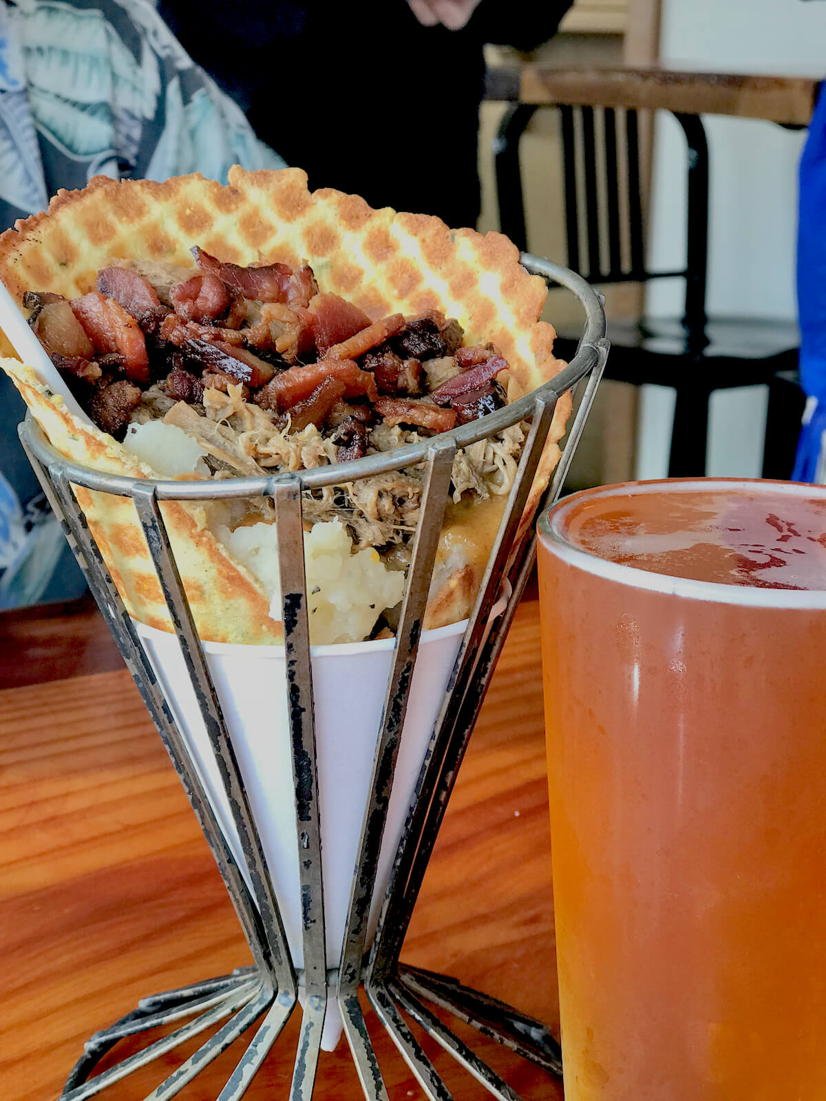 Lighthouse Grill: Savory Waffle Cone with Mashed Potatoes, Pulled Pork and Bacon!