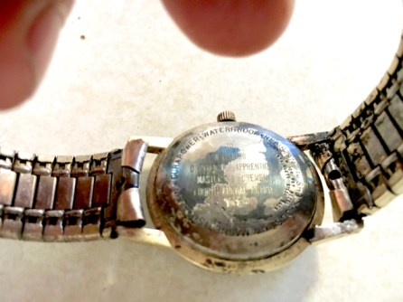 Engraving on Jim's Dad's wrist watch, still visible.