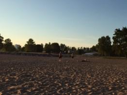 Football in beach