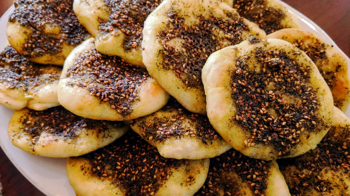 A plate with baked Manakeesh