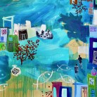 Abstract Art painting of urban scene