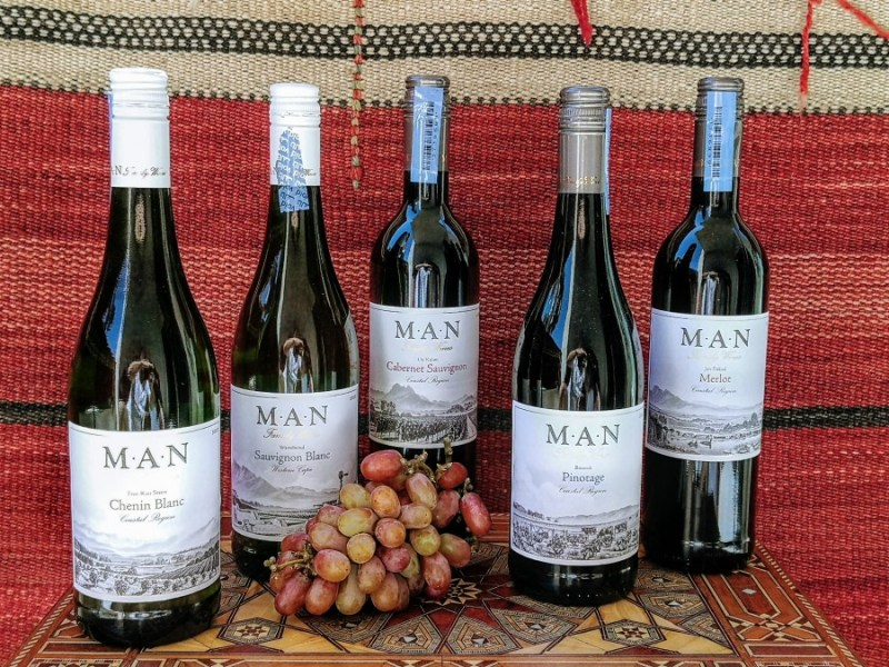 Wine bottles of South African Wine