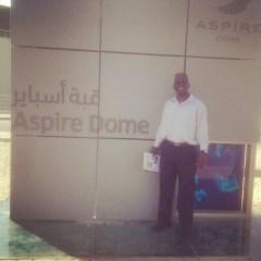 Joe at Aspire Zone, the big sports academy in Doha