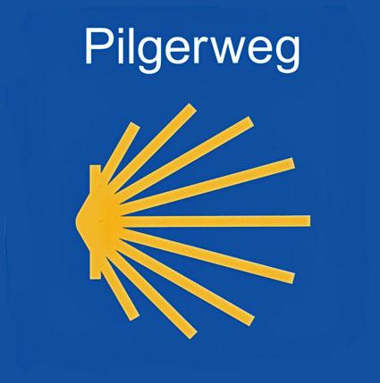 Das offizielle Symbol zur Kennzeichnung der Jakobswege.