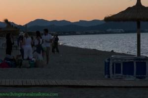 People starting to gather on Playa de Muro for San Juan