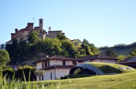 walk path langhe castle vineyard
