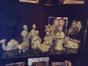 Celadon nativity that is special because we bought it on our honeymoon in Thailand.