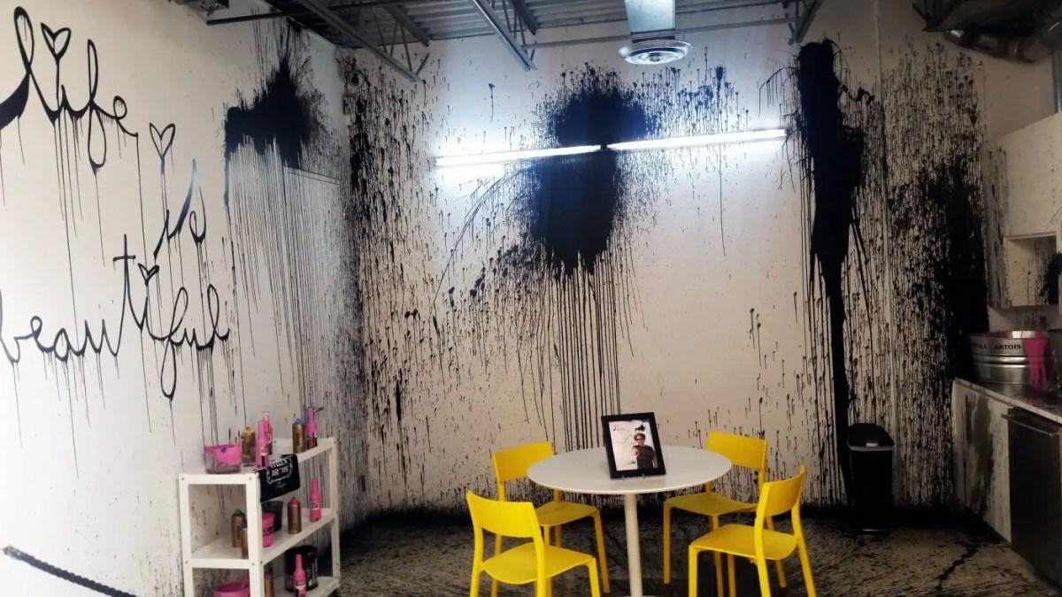 Mr.Brainwash site specific splatter paint/installation
