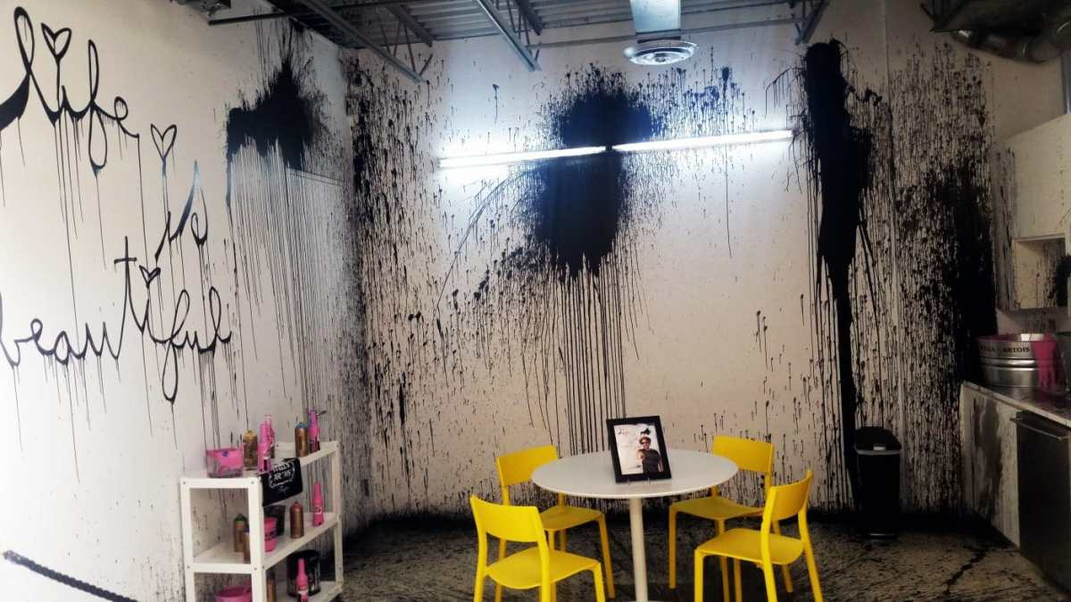 Mr.Brainwash site specific splatter paint/installation