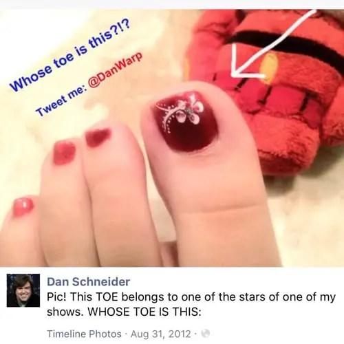 Dan's social media posting of actors' toes