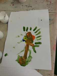 flower painting at scout hut 08.03