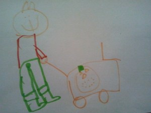 Strawberry puts the pumpkin in the shopping trolley and carries on looking around the supermarket.