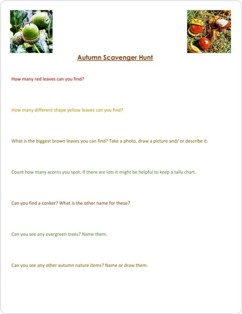Nature activity sheet, nature hunt, home education, resources