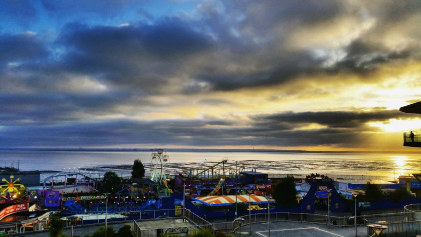 Three Shells Lagoon, Seaside, Sunset, Southend-on-sea, Essex, England, Living Life Our Way, Blue Mind, Adventure Island Funfair