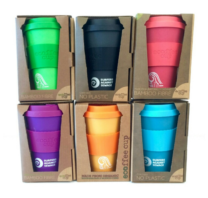 A picture of SAS bamboo reusable coffee cups (boxed and stacked 3 x 2) in 6 different colours.