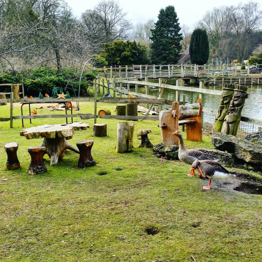 Vanstone Park, garden centre, wooden sculptures, #100daysofhomeed, #LoveHomeEd, 100 days of home ed, activities at home, Days Out, freedom to learn, Home Education