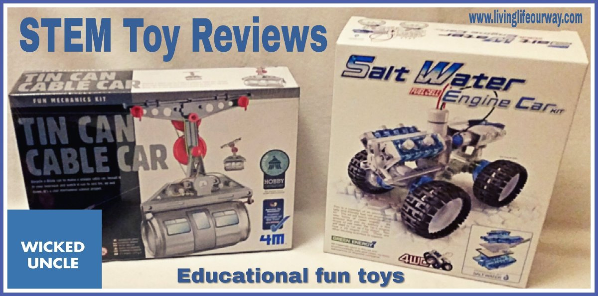 Educational STEM Toy Reviews: Tin Can Cable Car and Salt Water Engine Car (From Wicked Uncle)