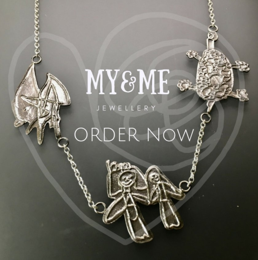 Picture of three charm pendant. Says My&Me Jewellery. Order now