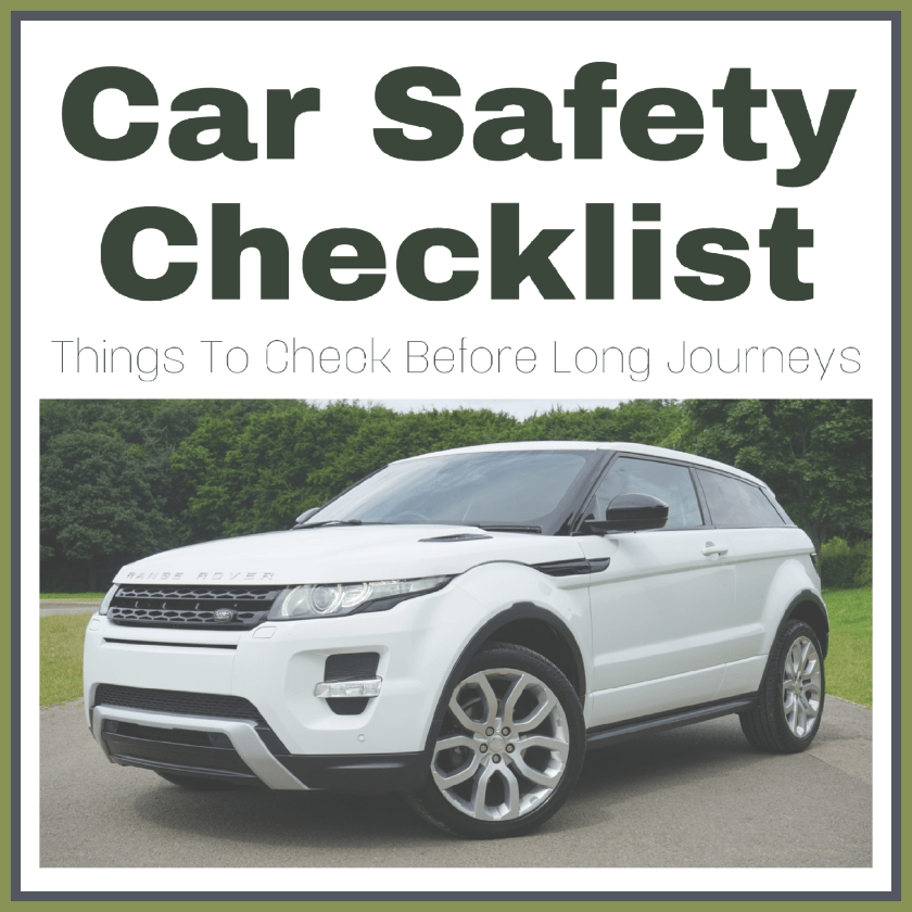 A picture of a white landrover with the caption Car Safety Checklist: Things To Check Before Long Journeys #CarSafetyChecklist Kwik Fit campaign image designed by Living Life Our Way.