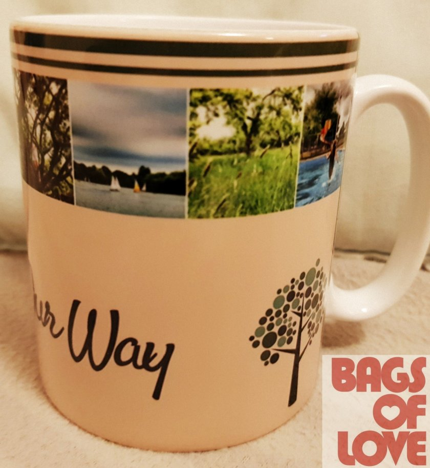 Living Life Our Way personalised photo mug with Bags of Love logo in right hand corner of image.