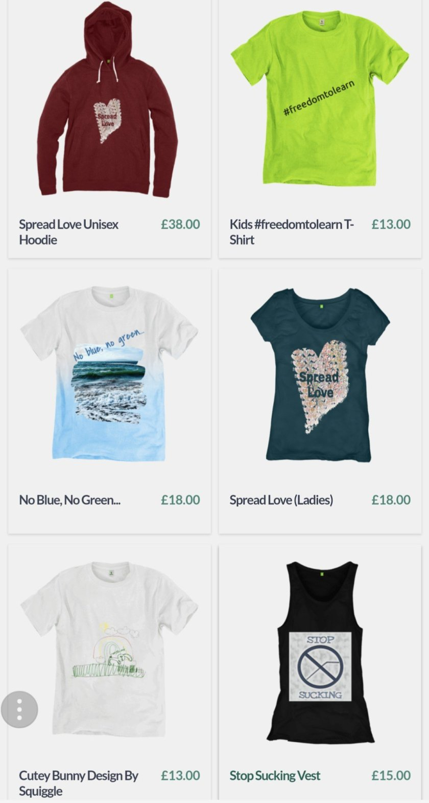 An image showing 6 of the different designs available from the store.