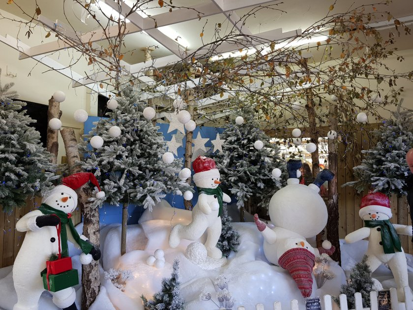 Snowman Christmas display at Van Hage, Great Amwell
