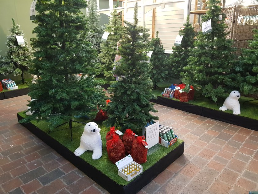 xmas display at Burston with Christmas trees and seals