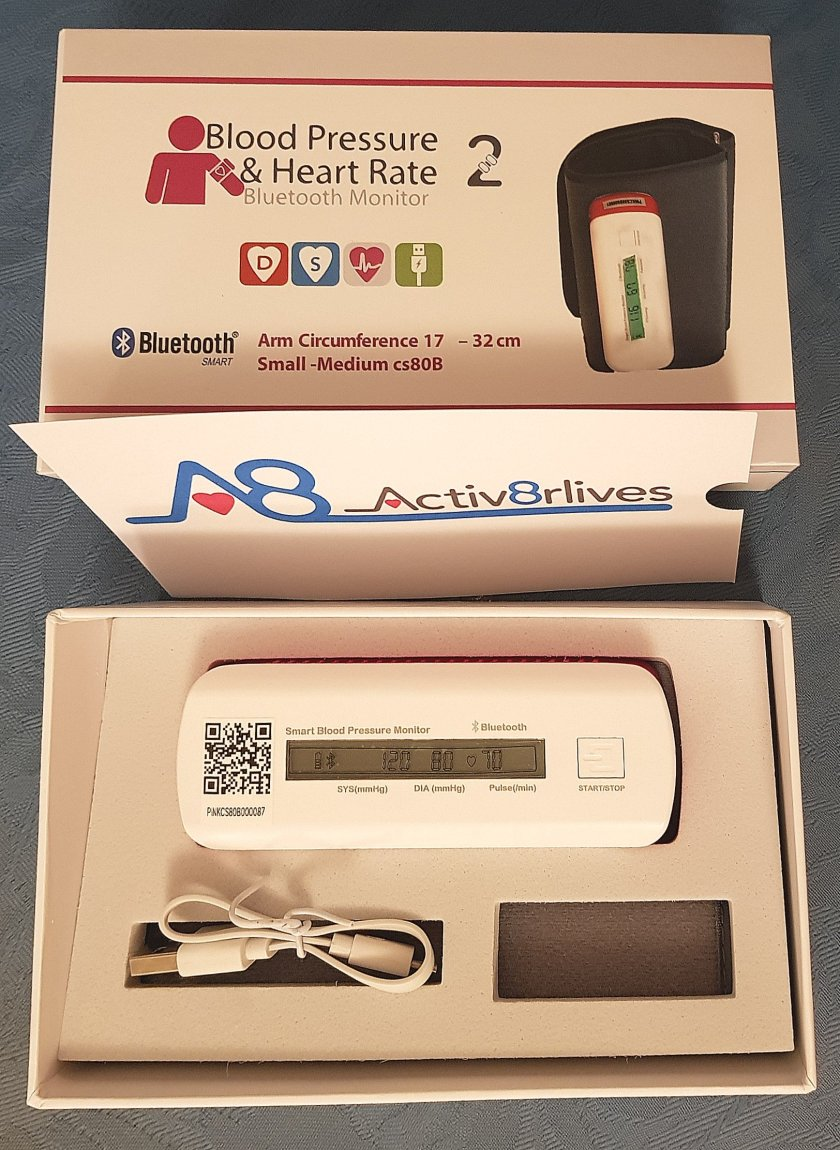A picture of Activ8rlives Blood Pressure and Heart Rate Bluetooth Monitor box and contents.