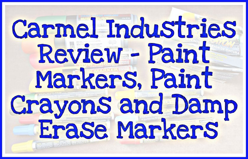 Faint picture of markers as background to title 'Carmel Industries Review - Paint Markers, Paint Crayons and Damp Erase Markers'