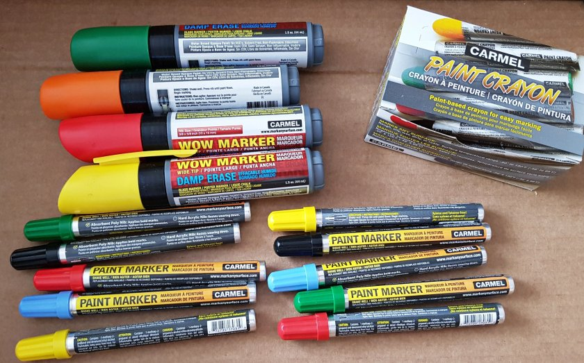Selection of Carmel Industries Paint Markers, Paint Crayons and Damp Erase Markers.