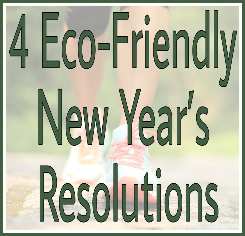 Title 4 Eco-Friendly New Year's Resolutions with faded background image of jogger outdoors