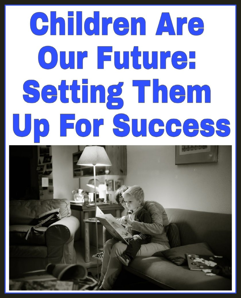 Children Are Our Future: Setting Them Up For Success title with black and white image of child sat on adult's knee in a living room reading a book.