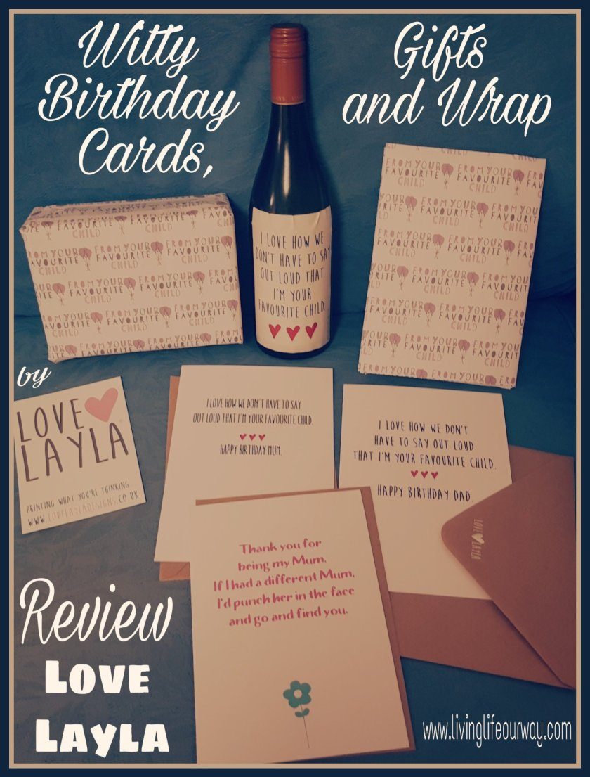 Love Layla greetings card, wrap and wine label for favourite child range.