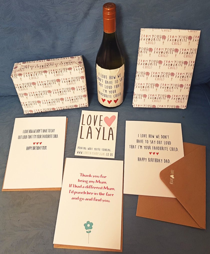 Love Layla greetings cards, wine label and wrapping paper.