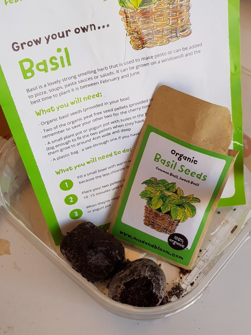 Grow your own basil - mud and bloom - packet of seeds and instruction card image.
