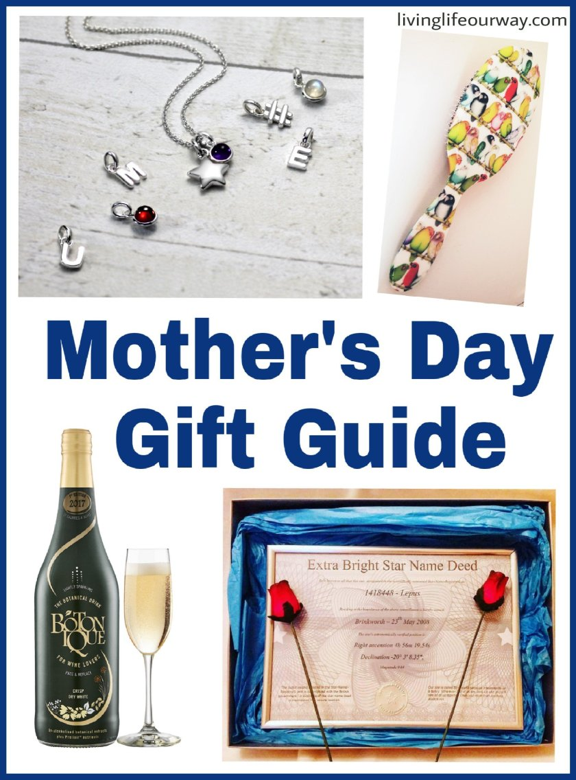 Mothers Day gift guide to title with image of botonique, rock and ruddle hairbrush, extra bright star gift set and hersey & son silver star pendant jewellery