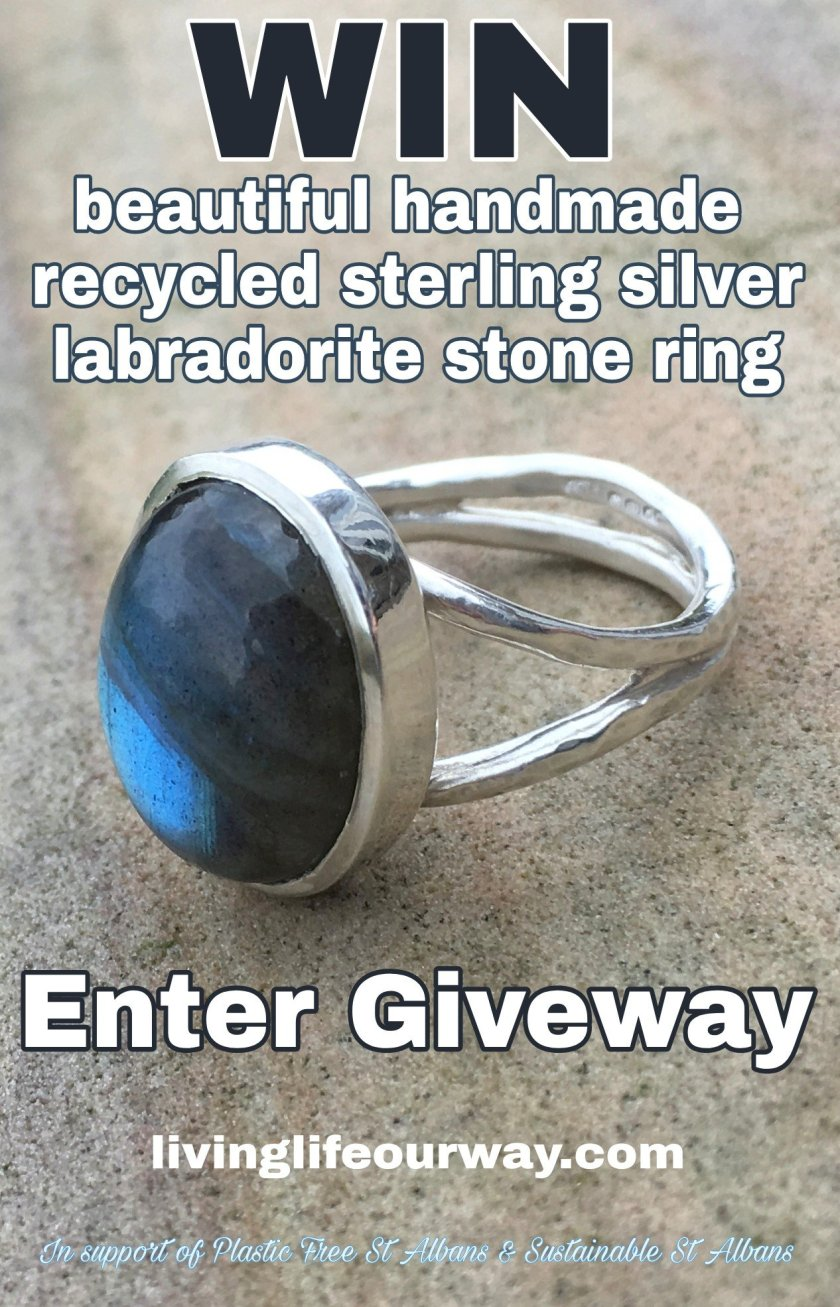 Handmade recycled silver labradorite stone ring image and giveaway wording