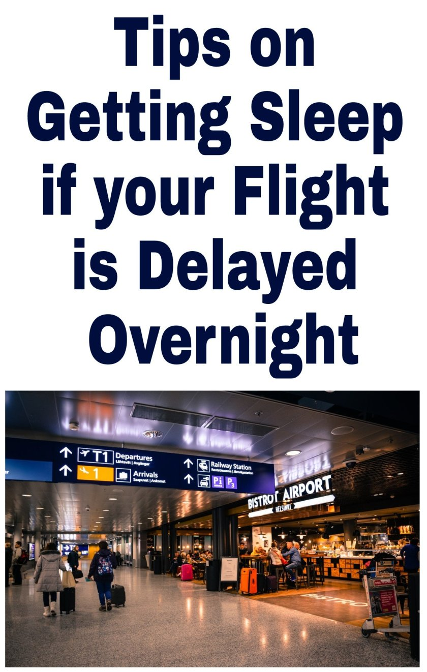 Tips on Getting Some Sleep if your Flight is Delayed Overnight. Image of inside airport at night